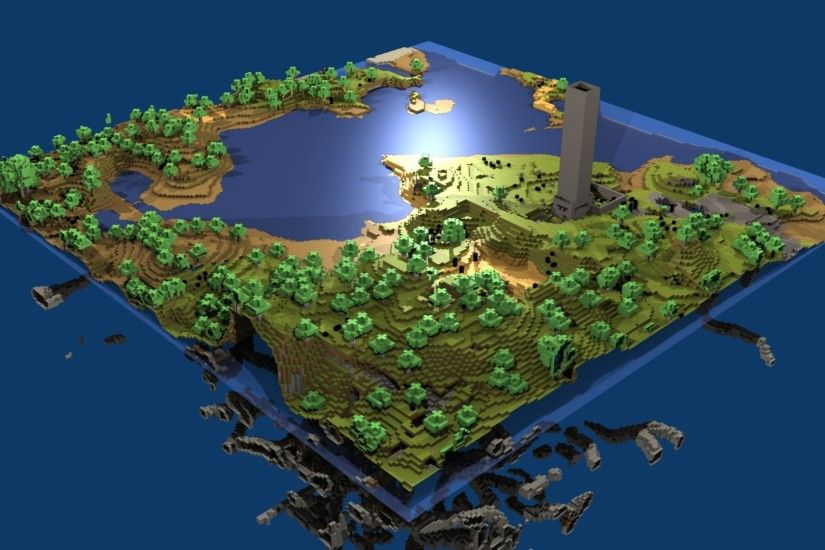 Preview wallpaper minecraft, world, map, water, life, blocks 1920x1080