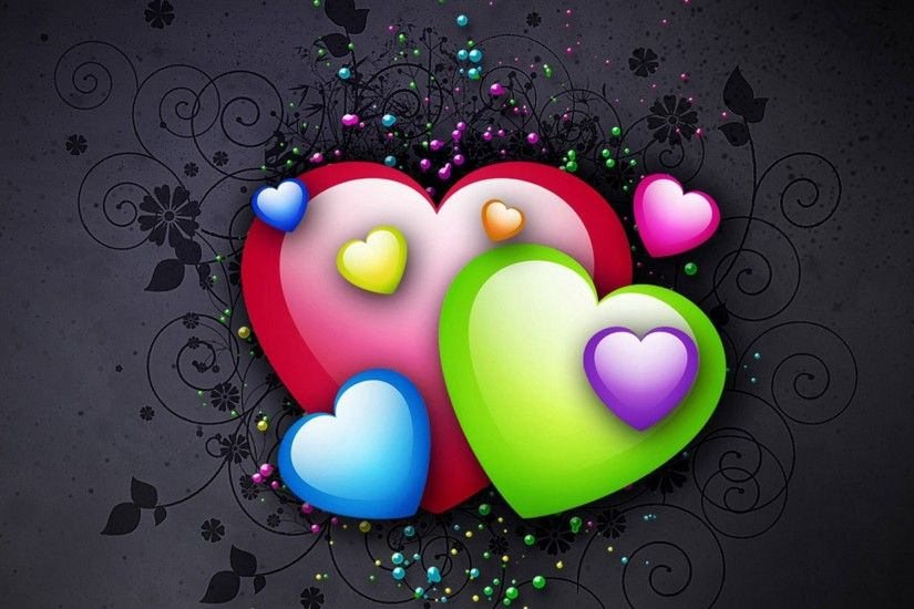 Wallpaper Heart, Background, Colorful, Bright HD, Picture, Image