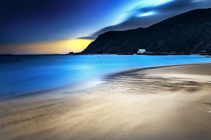 Blue Night Beach Desktop Wallpaper