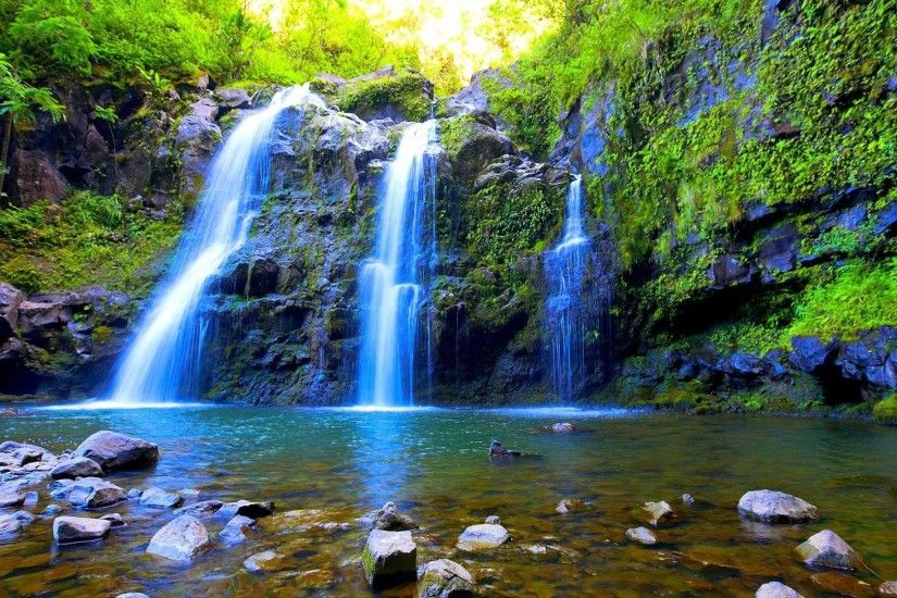 Moss Triple Waterfalls Pool Rocks Wonderful Falls Waterfall Desktop  Wallpaper Free Download
