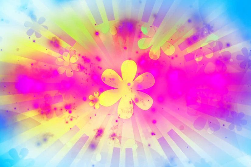 Backgrounds summer fun bright colors and flowers pop retro loop CG Motion  Background - VideoBlocks