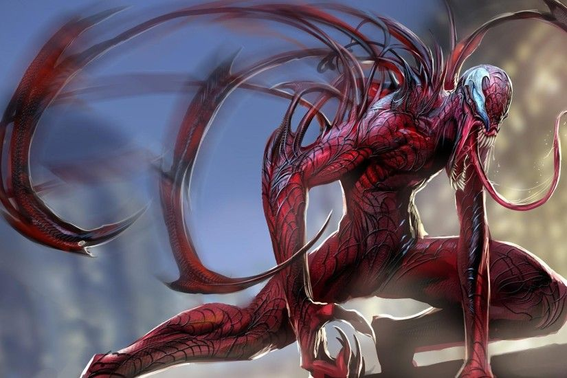 Preview wallpaper carnage, spider man, language, monster 3840x2160