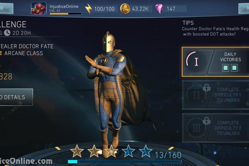 Description: Upon activating Supermove, Doctor Fate has 80% Chance to swap  health with his opponent.