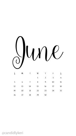 White and black script June 2016 calendar wallpaper free download for  iPhone android or desktop background
