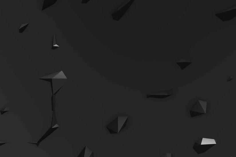 Subscription Library 4k Black Low Poly Abstract Background. Black spikes  appear and disappear on a flat surface