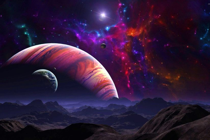 Abstract Burst Star Seas Space Fantasy Planets Night Time Hd ..