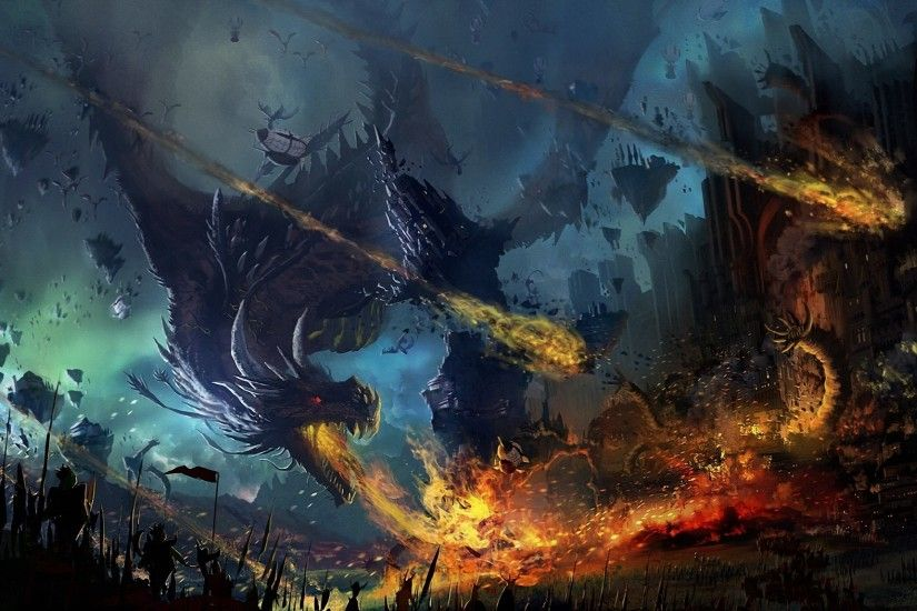 Fantasy Dragon Warrior Fantasy Fire Battle City Wallpaper