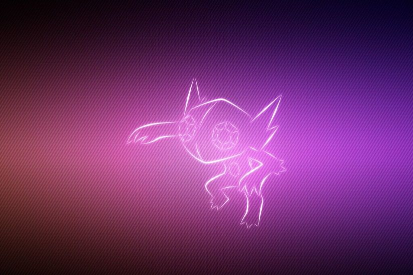 Preview wallpaper pokemon, background, lilac, sableye 2048x1152