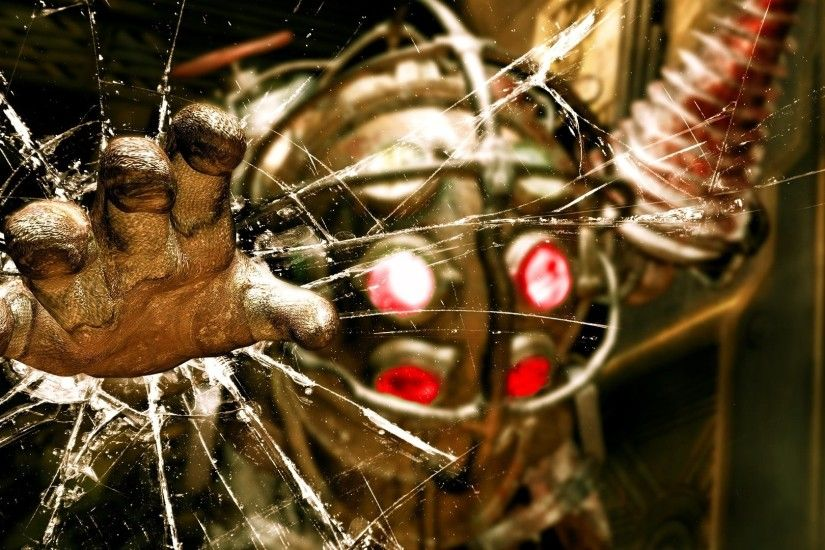 Preview wallpaper bioshock, big daddy, glass, hand, look, jack 1920x1080