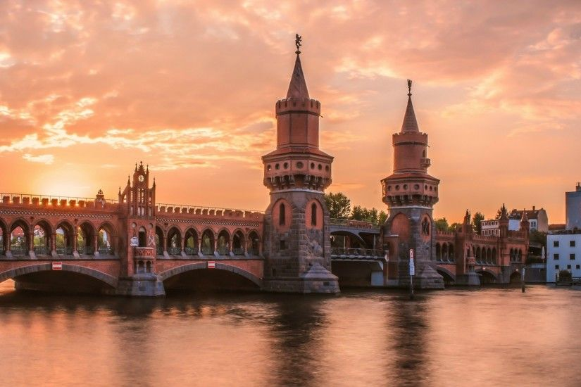 cityscape, Architecture, Tower, Old Building, Germany, Berlin, Water,  River, Bridge, Arch, Bricks, Sunrise, Clouds, Oberbaumbrücke Wallpapers HD  / Desktop ...