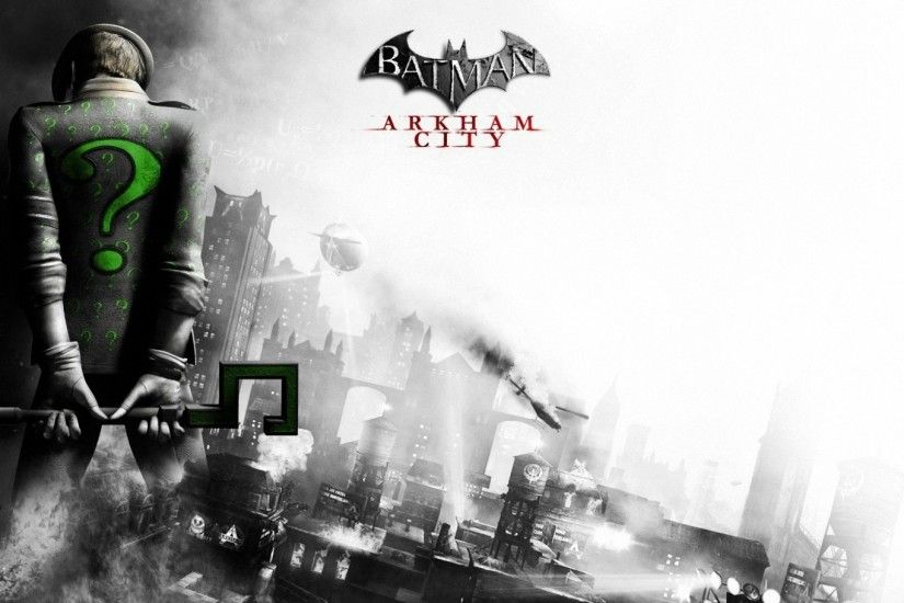 Preview wallpaper batman arkham city, riddler, back, city, black and white  1920x1080