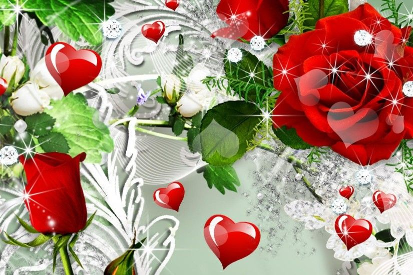... Red-heart-with-pink-roses-wallpaper ...