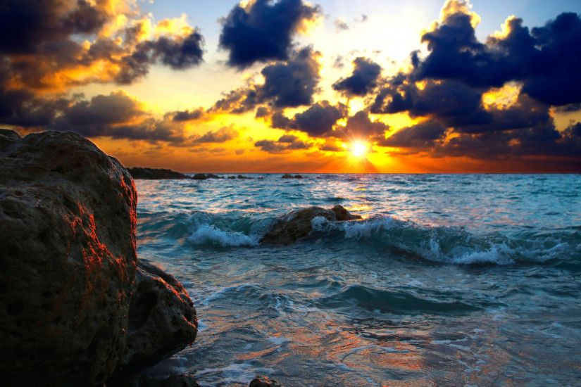 Preview wallpaper sea, surf, sunset, stones 1920x1080