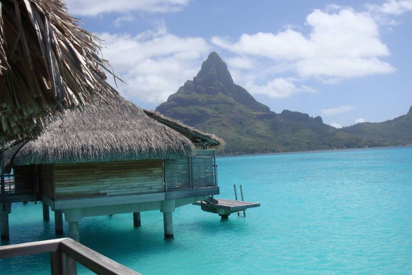 3840x2160 Wallpaper bora-bora, gulf, hut, bungalow, mountains, blue water
