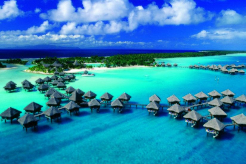 Bora Bora Island Sea Beach Houses Wallpaper X