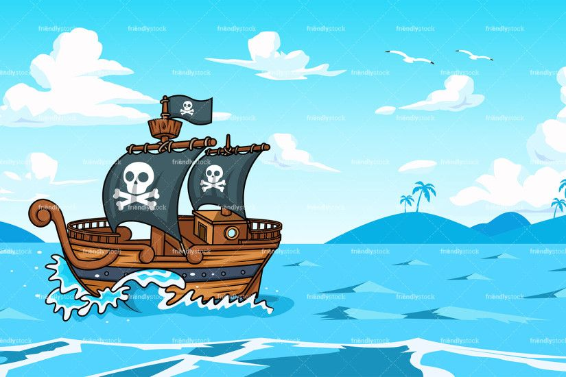 Pirate ship sailing the ocean background in 16:9 aspect ratio. PNG - JPG