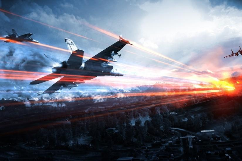 2048x1152 Wallpaper battlefield, airplanes, sky, clouds, light