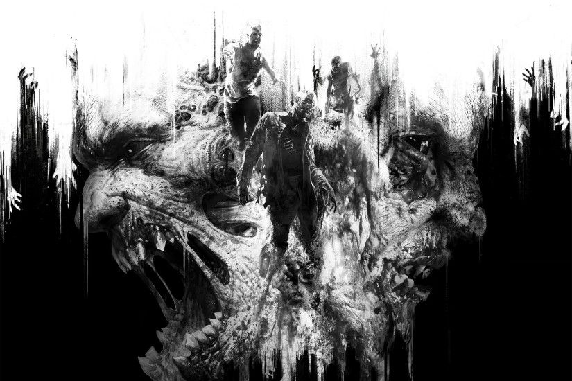 Video Game - Dying Light Video Game Creature Monster Horror Black & White  Zombie Wallpaper