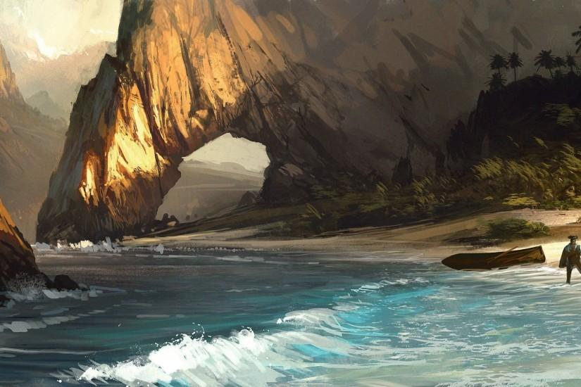 Assassin's Creed Beach Drawing Pirate Arch Rock Stone Shore wallpaper |  1920x1080 | 78574 | WallpaperUP
