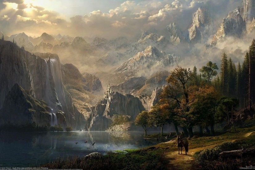 cg idyll's fall sarel theron fantasy castle lake mountain waterfall forest  girl elf horse rider fantasy