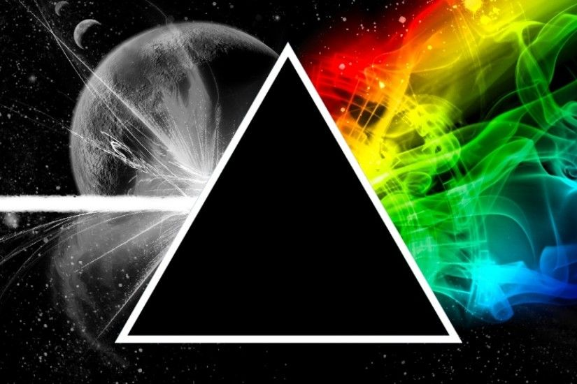Preview wallpaper pink floyd, triangle, space, planet, colors 3840x1200