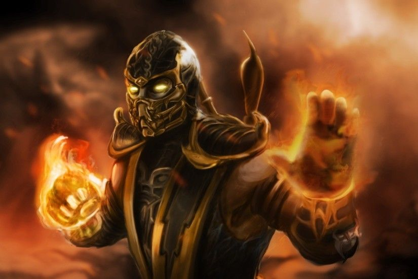 Preview wallpaper mortal kombat, scorpion, ninja, art 1920x1080