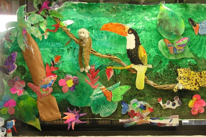 Rain forest week in PreK. My kids used real palm fronds to make the green