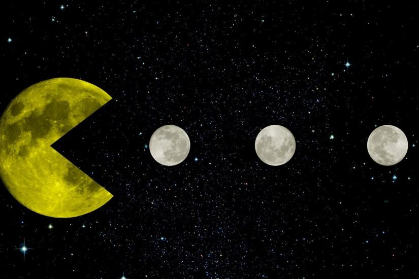 Pac Man, Yellow, Space, Moon, Moon, Stars, Black, Retro Games, Creative  Design, Infinity Wallpaper HD