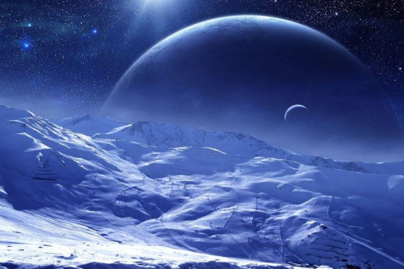 ... blue planets free desktop background Wallpaper two cold planets and ice  debris free desktop background ...