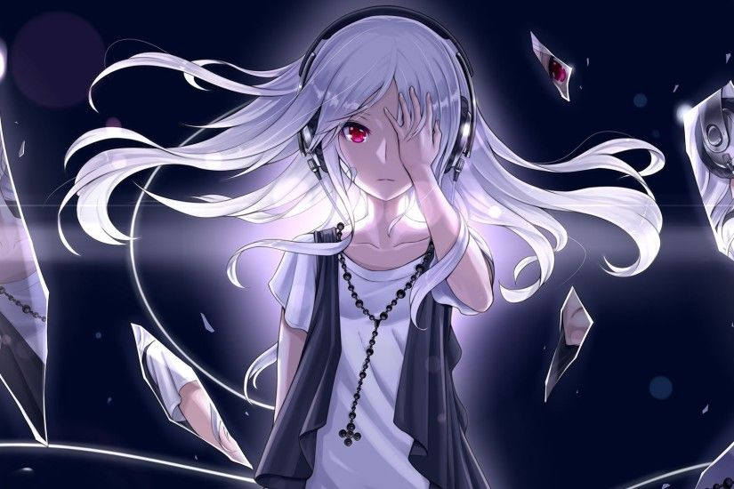 Emo Anime Girl White Haired., White haired and red eyes emo anime girl.