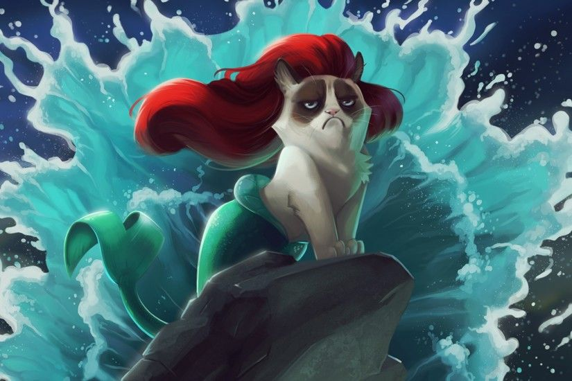 1920x1080 Wallpaper cat, mermaid, cartoon, grumpy cat