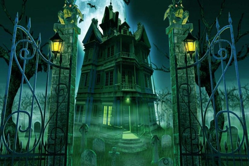 halloween graveyard and house wallpapers and images - wallpapers .
