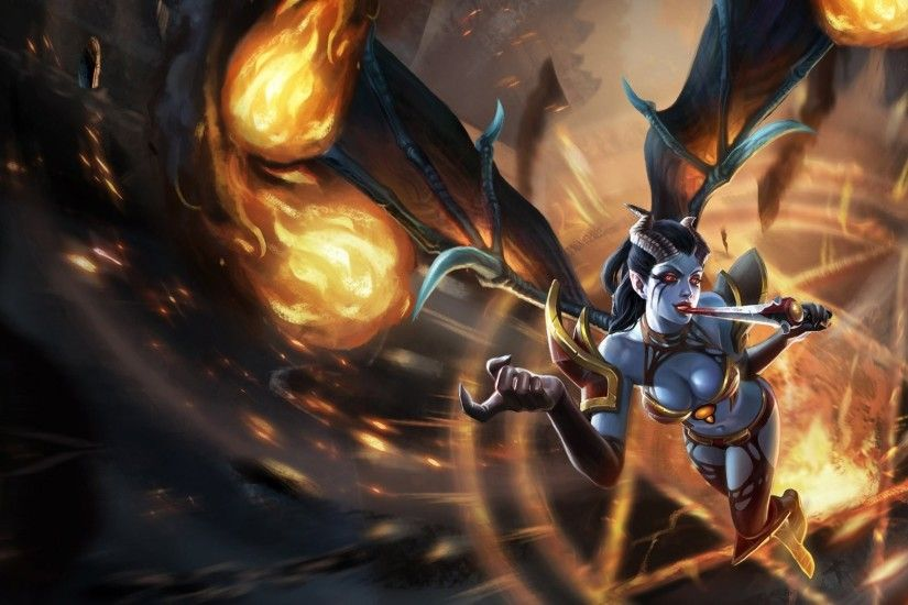 defense of the ancients dota queen of pain girl dagger blood wings claws  armour pentagram fire