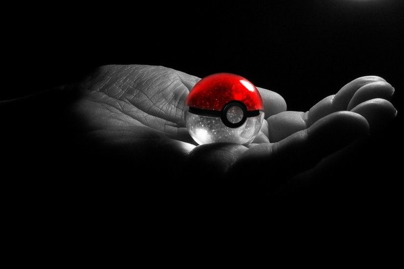 Black Background Grayscale Hands Pokeball Pkemon Selective Coloring
