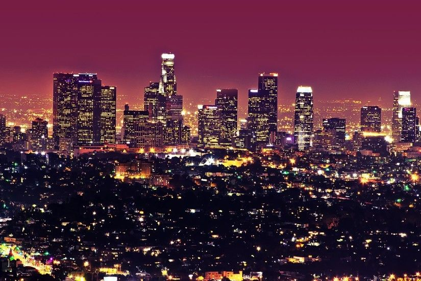 Beautiful Los Angeles City At Night Lights Landscape Wallpaper HD Picture  Widescreen