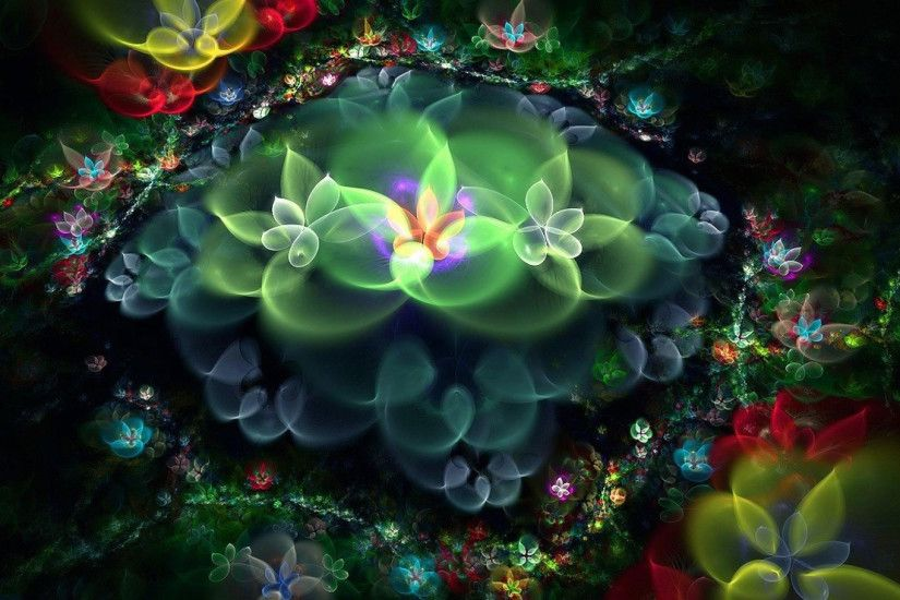 hd pics photos abstract 3d flowers nature neon glowing in night hd quality desktop  background wallpaper