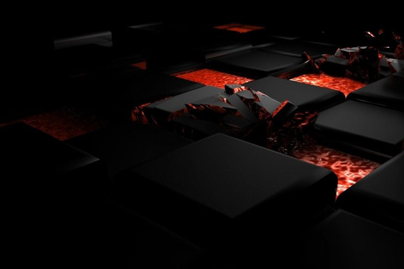 1920x1080 Wallpaper cube, fire, dark, light, alloy