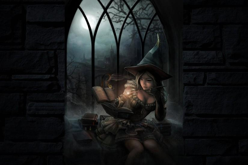 Dark Sexy Fantasy Art Wallpaper | fantasy art dark witch magic spell books  halloween girl women