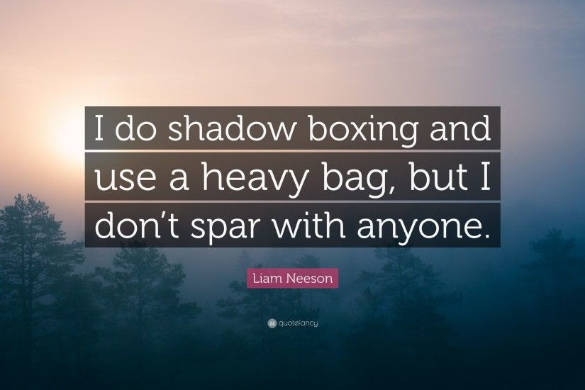 "Liam Neeson Quote: ""I do shadow boxing and use a heavy bag, but"