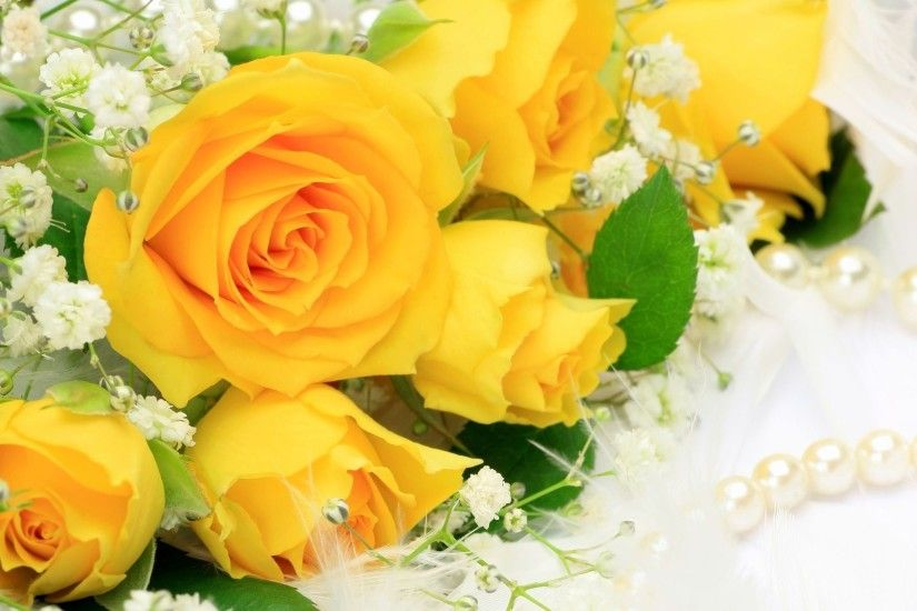 A bunch of decorative yellow roses symbolising friendship