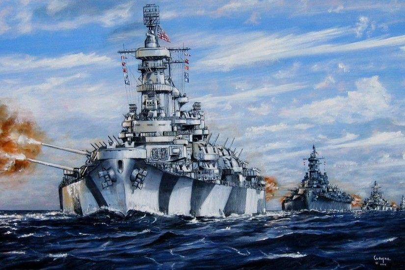 Wallpaper art, sea, build, battleships, u.s. navy, volleys, fire,