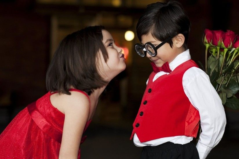 Funny, Children, Kids, Kiss, Roses, Boy, Girl, Glasses,