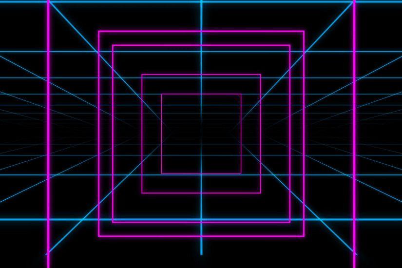 Neon Grid Square Loop Background