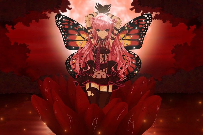 Red Butterfly Wallpaper | Gloomy Butterfly, anime, butterfly, flower, girl,  red