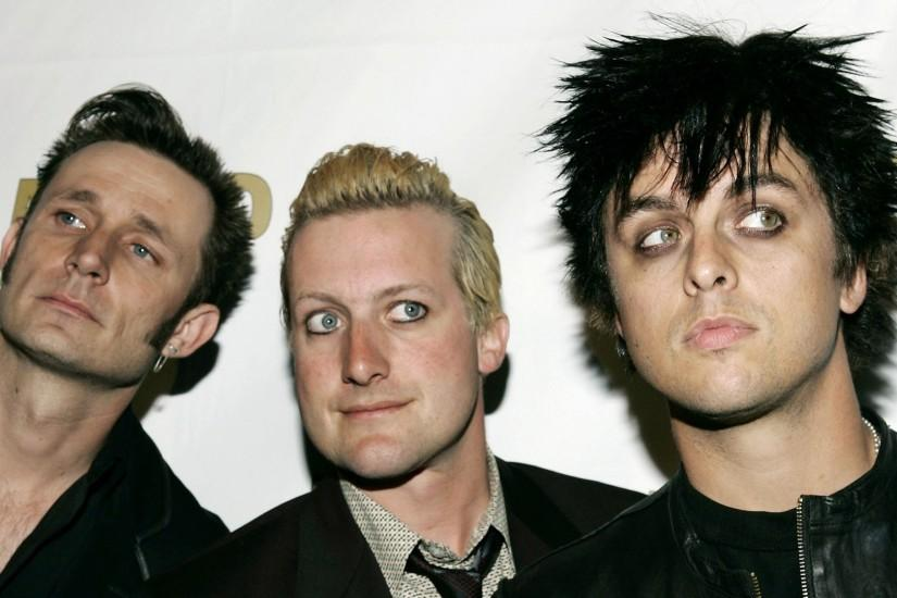 Preview wallpaper green day, faces, haircuts, look, light 1920x1080