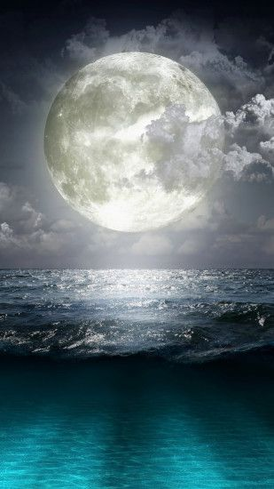 Super Moon Blue Ocean iPhone 6 Plus HD Wallpaper ...