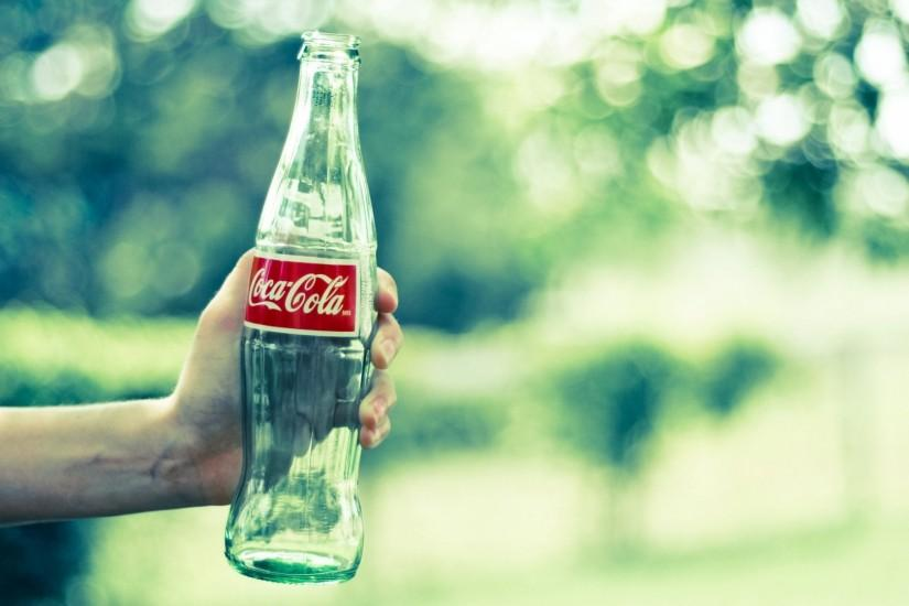 Preview wallpaper coca-cola, bottle, hand, glass 1920x1080