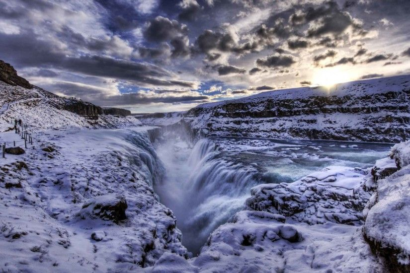 Waterfalls Iceland Crevice Waterfall Nature Desktop Wallpapers Free Download