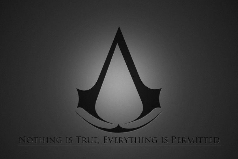 2560x1080 Wallpaper assassins creed, emblem, quote, background, grey
