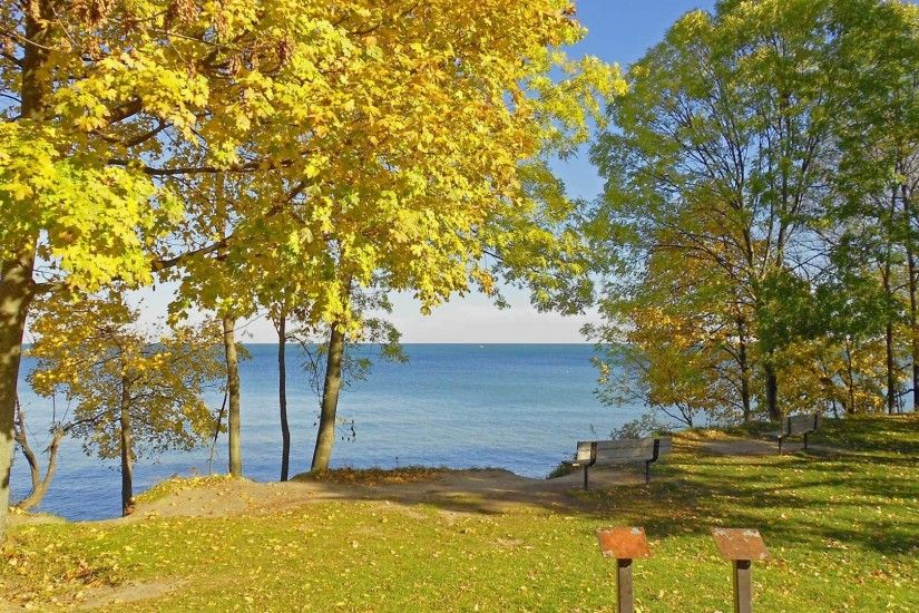 3840x2160 Wallpaper fall, canadian shore, meadow, benches, landscape